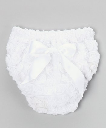 White Rosette Diaper Cover - Infant