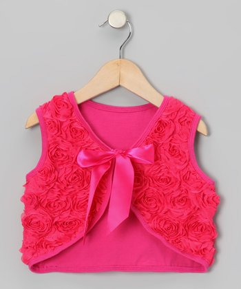 Hot Pink Rosette Vest - Toddler & Girls