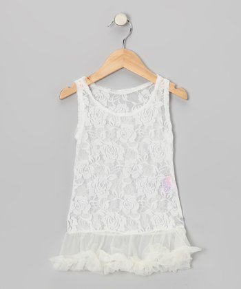 Cream Lace Ruffle Dress - Toddler & Girls