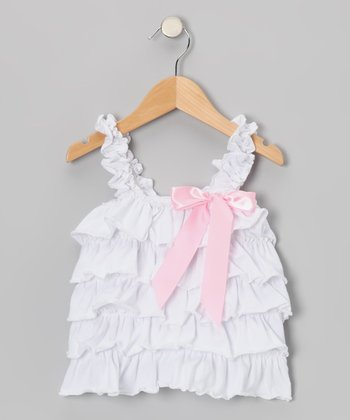 White & Pink Ruffle Tank - Toddler & Girls