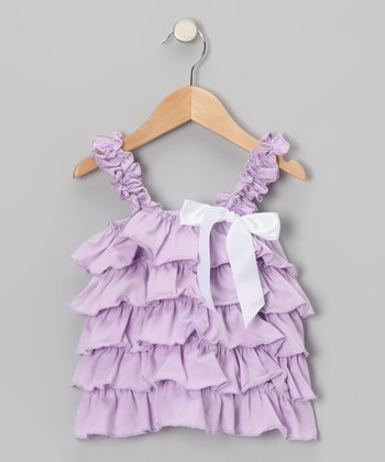 Lavender & White Ruffle Tank - Toddler & Girls