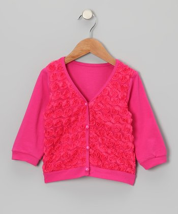 Hot Pink Rosette Cardigan - Toddler & Girls