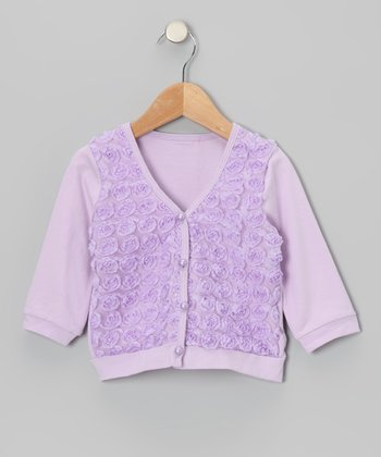 Lavender Rosette Cardigan - Toddler & Girls