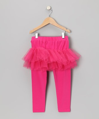 Hot Pink Tulle Skirted Leggings - Toddler & Girls