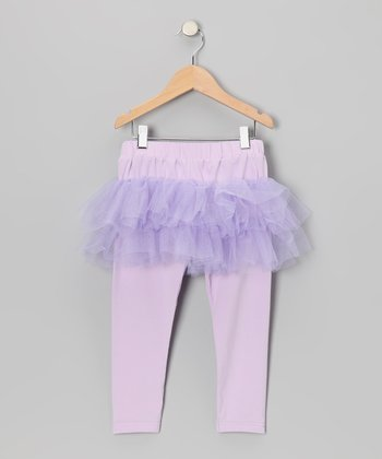 Lavender Tulle Skirted Leggings - Toddler & Girls