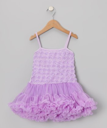 Lavender Rosette Ruffle Dress - Toddler & Girls