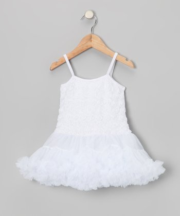 White Rosette Ruffle Dress - Toddler & Girls