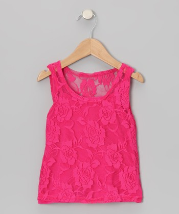 Hot Pink Lace Tank & Camisole - Toddler & Girls