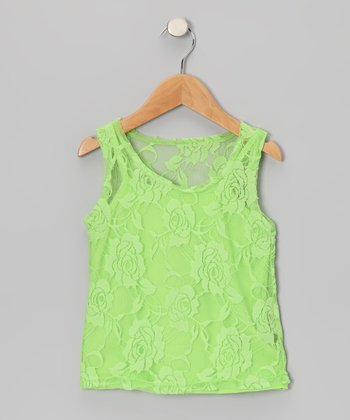 Lime Green Lace Tank & Camisole - Toddler & Girls