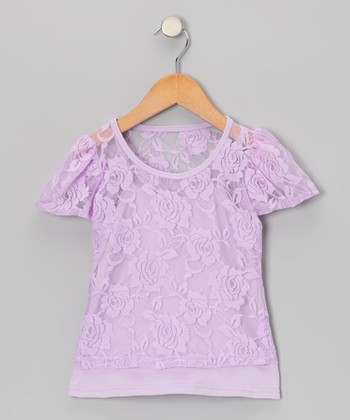 Lavender Lace Short-Sleeve Tee & Camisole - Toddler & Girls