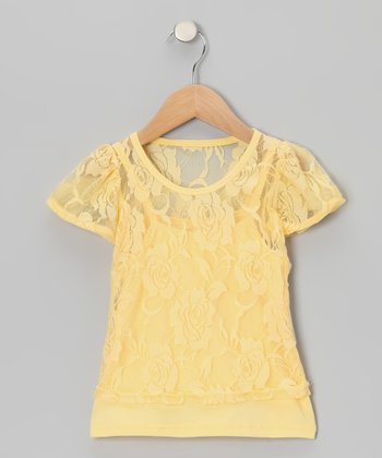Yellow Lace Short-Sleeve Tee & Camisole - Toddler & Girls