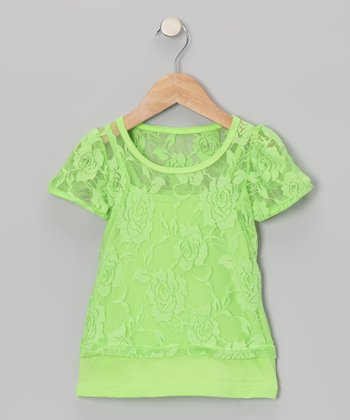 Lime Green Lace Short-Sleeve Tee & Camisole - Toddler & Girls