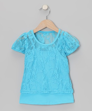 Turquoise Lace Short-Sleeve Tee & Camisole - Toddler & Girls