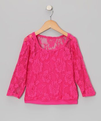 Hot Pink Lace Long-Sleeve Tee & Camisole - Toddler & Girls