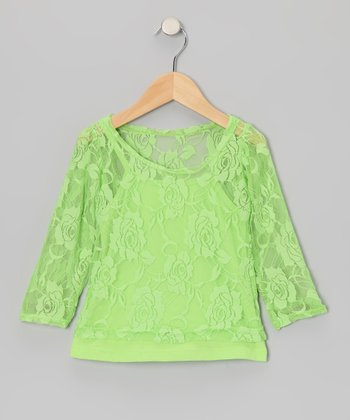 Lime Green Lace Long-Sleeve Tee & Camisole - Toddler & Girls