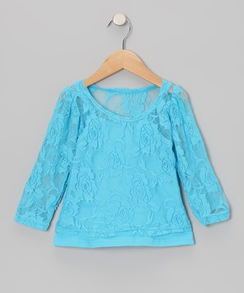 Turquoise Lace Long-Sleeve Tee & Camisole - Toddler & Girls