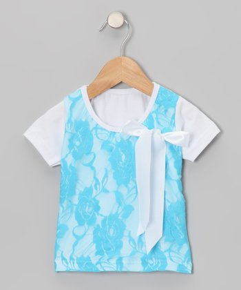 Turquoise Lace Layered Tee - Toddler & Girls