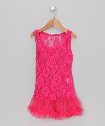 Hot Pink Lace Ruffle Dress - Toddler & Girls
