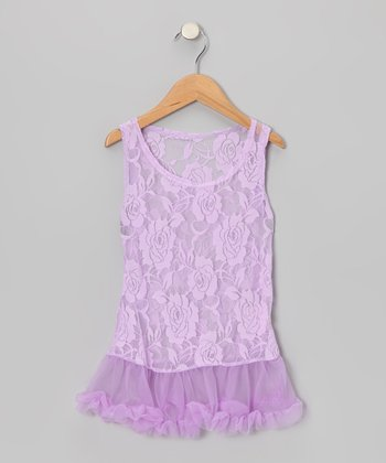 Lavender Lace Ruffle Dress - Toddler & Girls