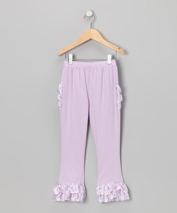 Lavender Damask Satin Ruffle Pants - Toddler & Girls