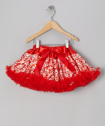 Red Damask Pettiskirt - Infant, Toddler & Girls