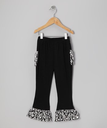 Black Satin Ruffle Pants - Toddler & Girls