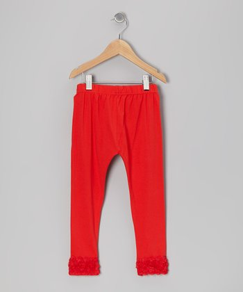 Red Rosette Leggings - Toddler & Girls