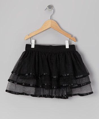 Black Ribbon Ruffle Chiffon Tutu - Toddler & Girls