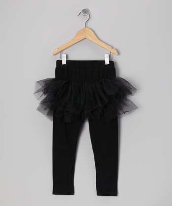 Black Tulle Skirted Leggings - Toddler & Girls