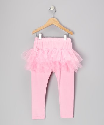 Pink Tulle Skirted Leggings - Toddler & Girls