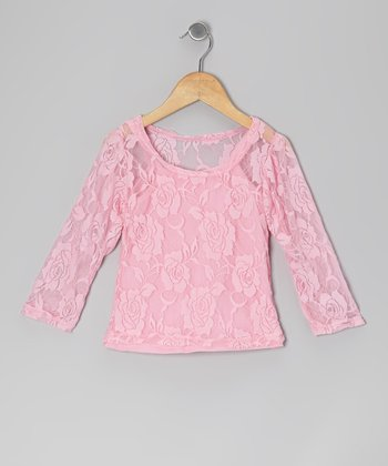 Pink Camisole & Lace Long-Sleeve Tee - Toddler & Girls