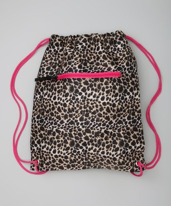 Pink & Black Leopard Drawstring Bag