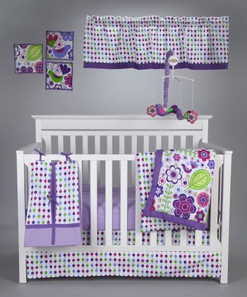 Purple Botanical Crib Bedding Set