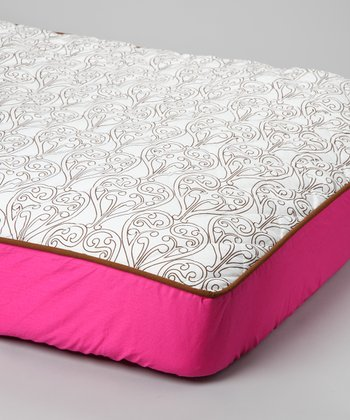 Pink & Chocolate Damask Quilted Sheet