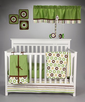 Green & Chocolate Mod Dot & Stripe Crib Bedding Set