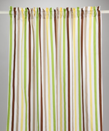Green & Chocolate Mod Dot & Stripe Curtain Panel