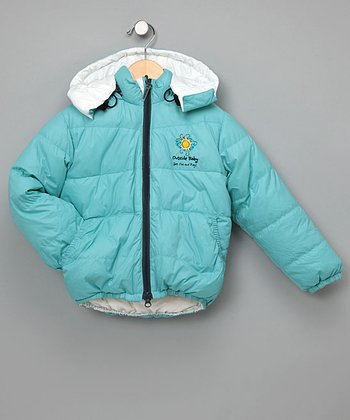 Outside Baby Aqua & White Reversible Down Jacket - Infant & Kids