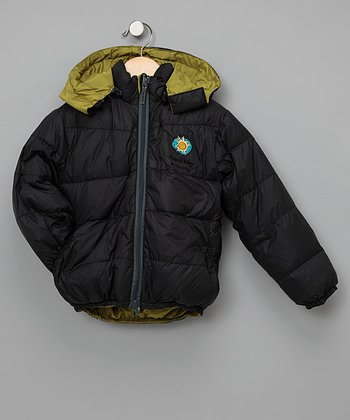 Outside Baby Green & Black Reversible Down Jacket - Infant