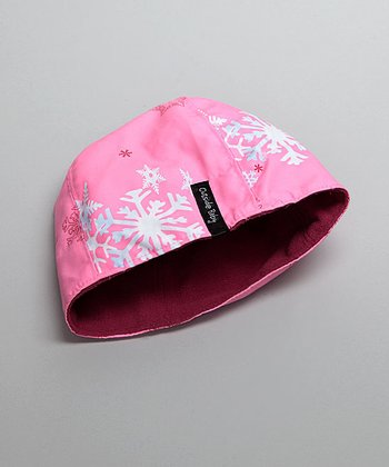 Outside Baby - Pink Snowflake Reversible Two-Layer Beanie