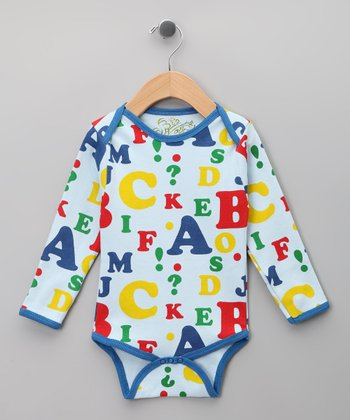Blue Alphabet Organic Long-Sleeve Bodysuit - Infant