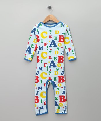 Blue Alphabet Organic Long-Sleeve Romper - Infant