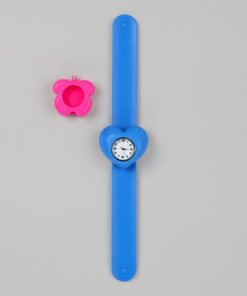 Blue & Pink Butterfly Slap Watch Set