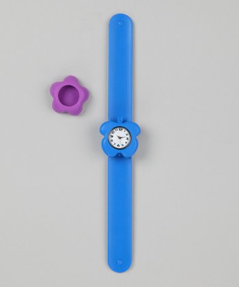 Blue & Purple Flower Slap Watch Set