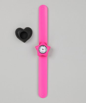 Pink & Black Heart Slap Watch Set