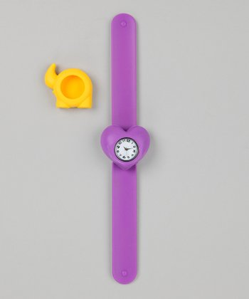 Purple & Yellow Elephant Slap Watch Set