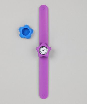Purple & Blue Flower Slap Watch Set