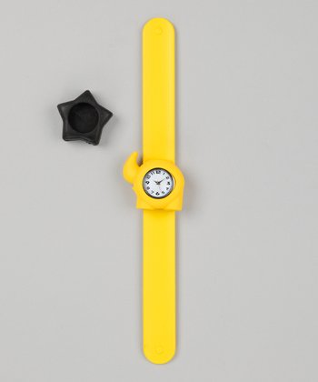 Yellow & Black Star Slap Watch Set