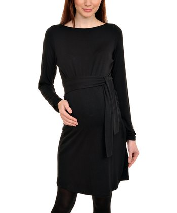 Black Mariella Maternity Faux Wrap Dress