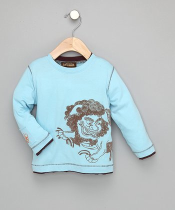 Blue Chinese Lion Tee - Toddler & Boys