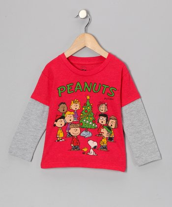 Red 'Peanuts' Christmas Tree Layered Tee - Toddler & Girls